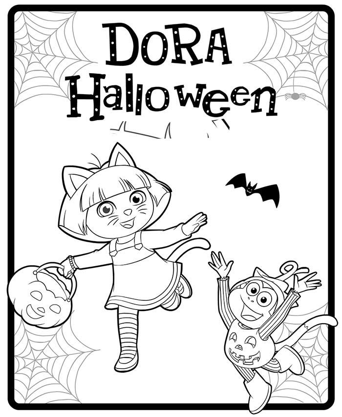Dibujos para colorear de dora la exploradora de halloween for Dora halloween coloring pages
